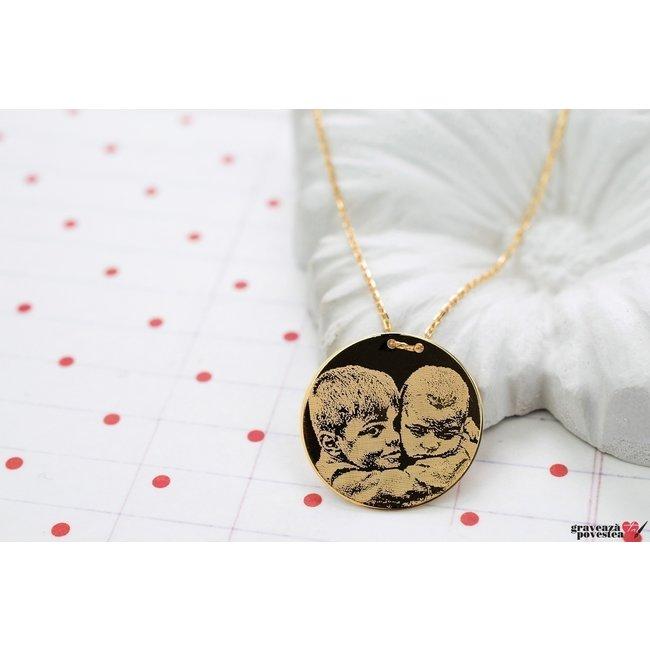 Colier LUXURY COIN 20mm FOTO placat cu aur