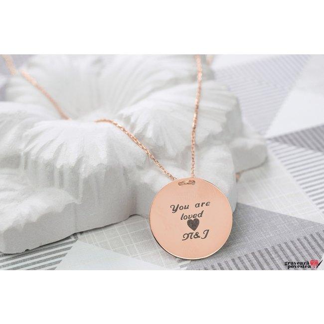 Colier LUXURY COIN 20mm TEXT placat cu aur roz