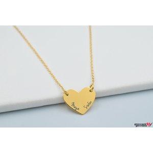 Colier MINI FOLLOW YOUR HEART 15mm TEXT placat cu aur