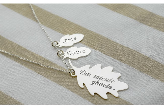 Colier MOMMY - ACORNS TO OAK 34mm TEXT ( doua ghinde )