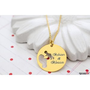 Colier MOMMY'S BABY 19mm TEXT placat cu aur