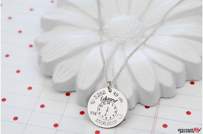 Colier ceasul bebelusului banut 17 mm personalizat gravura foto Argint 925 rodiat
