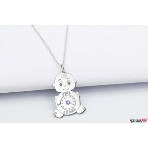 Colier MY BABY Swarovski 26mm TEXT (Lant Extra Long - 70cm)