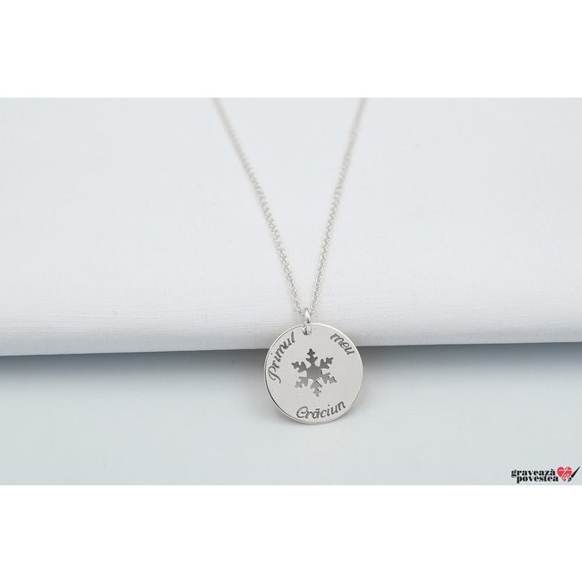 Colier COIN SNOWFLAKE 17mm TEXT