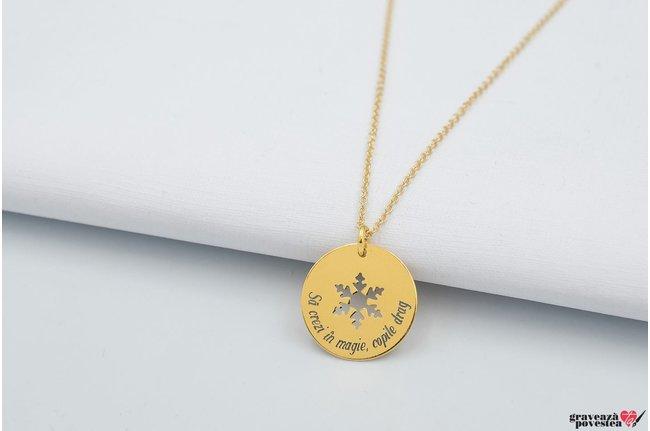 Colier COIN SNOWFLAKE 17mm TEXT placata cu aur