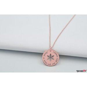 Colier COIN SNOWFLAKE 17mm TEXT placata cu aur roz
