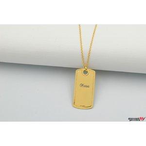 Colier PLATE 28mm TEXT placat cu aur