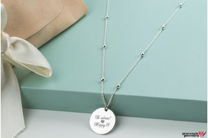 Colier SILVER BEADS COIN 16.5mm TEXT