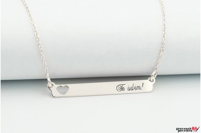 Colier SLIM HEART BAR 32mm TEXT
