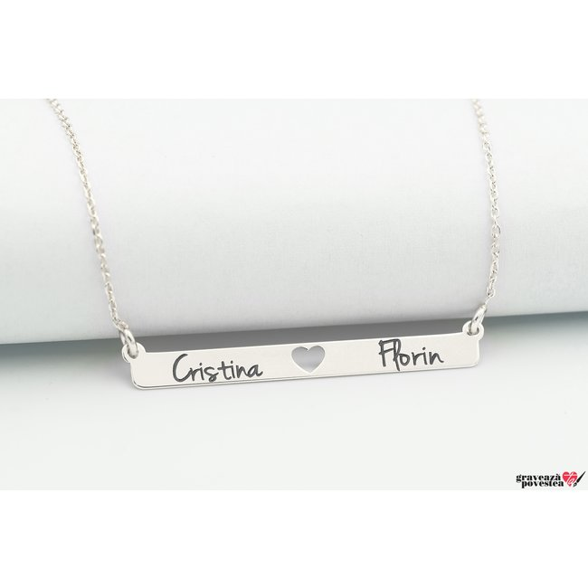 Colier SLIM HEART BAR 38mm TEXT