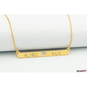 Colier SLIM HEART BAR 38mm TEXT placat cu aur