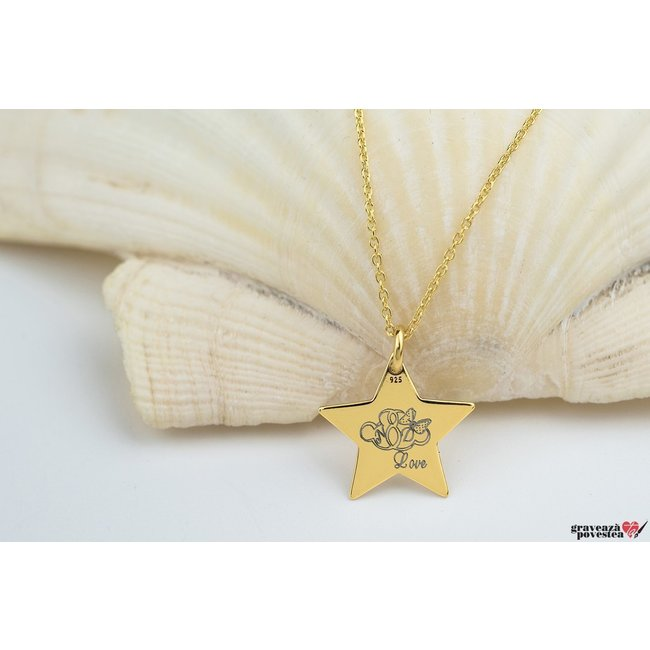 Colier STAR 15mm TEXT placat cu aur