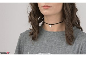 Colier SUEDE CHOKER COIN 10mm TEXT