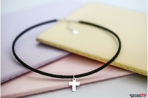 Colier SUEDE CHOKER ENGRAVE CROSS 12mm