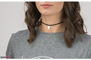 Colier SUEDE CHOKER THE ANGEL 15mm