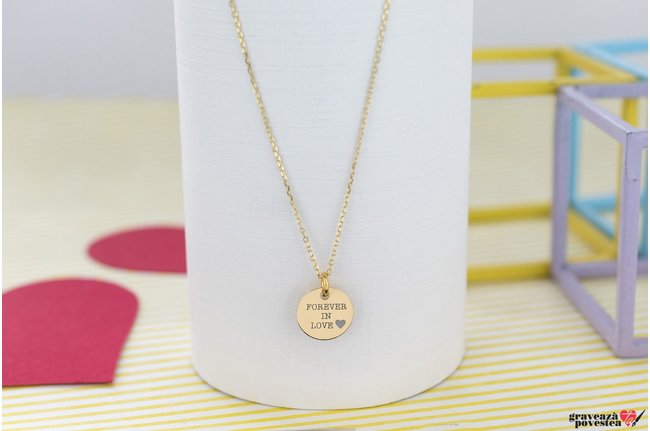 Colier THE COIN 10mm GOLD 14K TEXT