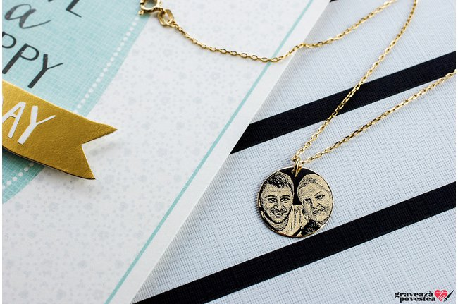 Colier THE COIN 15mm PURE GOLD 14K FOTO