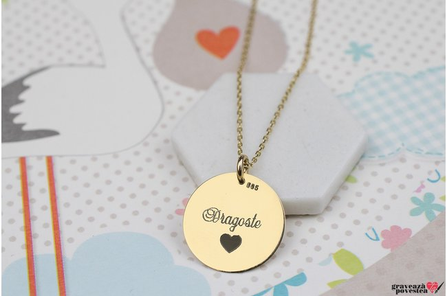 Colier THE COIN 15mm PURE GOLD 14K TEXT