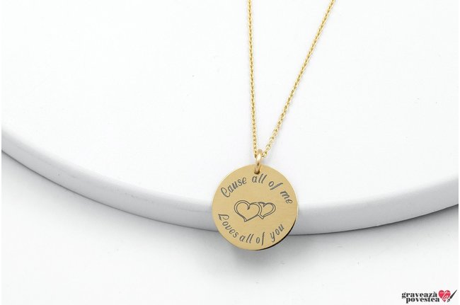 Colier THE COIN 15mm GOLD 14K TEXT