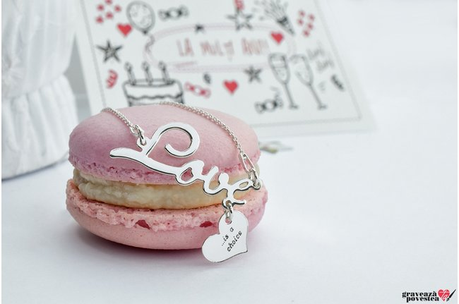 Colier THE LOVE HEART 32mm TEXT