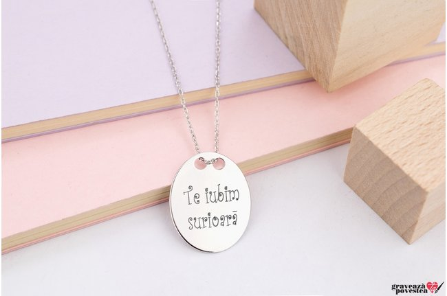 Colier THE OVAL 21mm TEXT