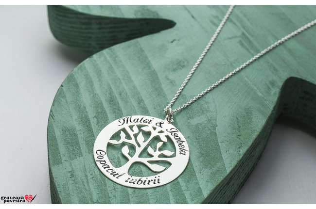 Colier TREE OF LIFE 28mm TEXT
