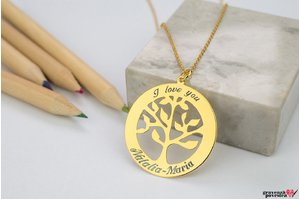 Colier TREE OF LIFE 28mm TEXT placat cu aur