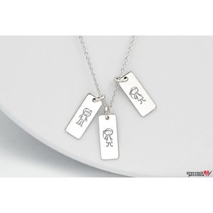 Colier familie trei placute  15.5 mm personalizate gravura text Argint 925 rodiat