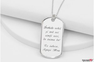 Colier unisex ARMY PLATE 50mm TEXT (Lant Beads)