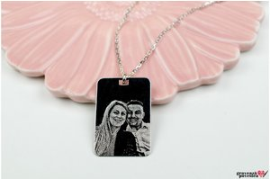 Colier unisex RECTANGULAR PLATE 30mm FOTO (Lant Cable)