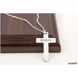 Colier unisex THE CROSS 28mm TEXT (Lant Cable)