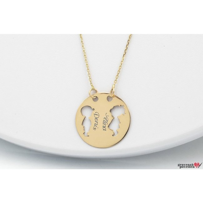 Colier MY KIDS COIN 19mm GOLD 14K TEXT