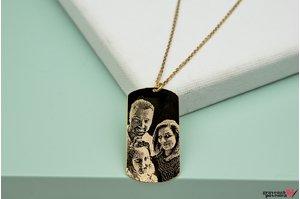 Colierul FOR HIM - THE PLATE 38mm FOTO placat cu aur