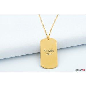 Colierul FOR HIM - THE PLATE 38mm TEXT placat cu aur