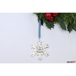 Decoratiune brad personalizata SNOWFLAKE 47mm TEXT