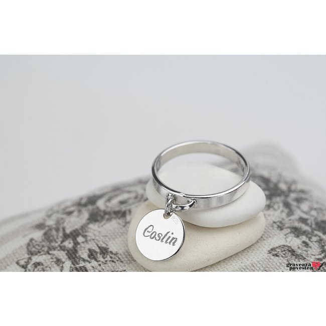 Inel CHARM COIN 10mm TEXT