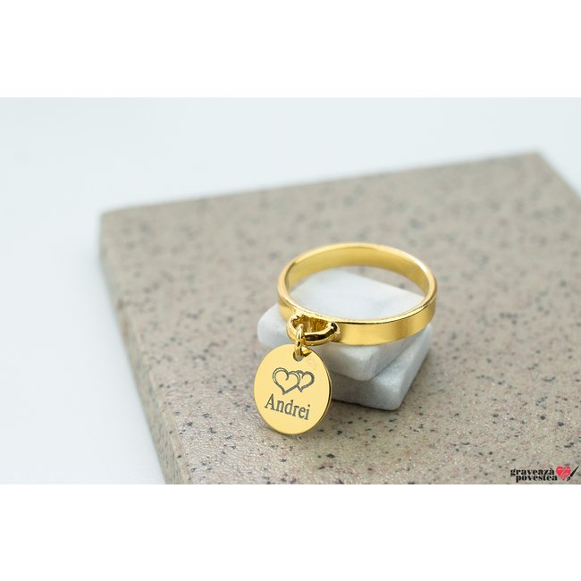 Inel CHARM COIN 10mm TEXT placat cu aur
