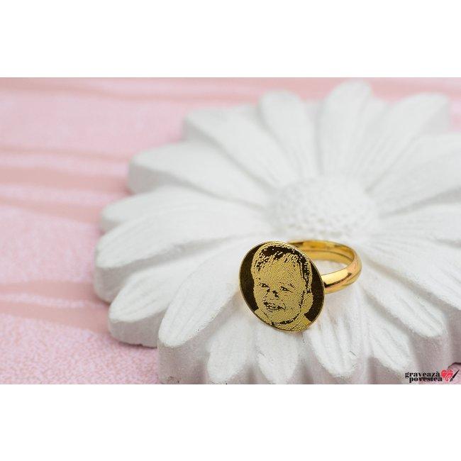 Inel COIN 15mm FOTO placat cu aur