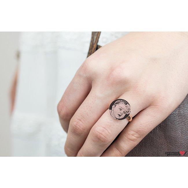 Inel COIN 15mm FOTO placat cu aur roz