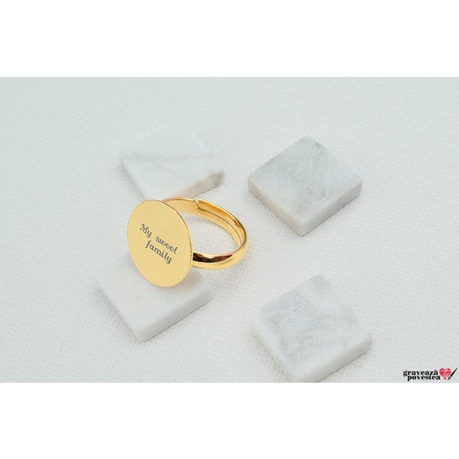 Inel COIN 15mm TEXT placat cu aur