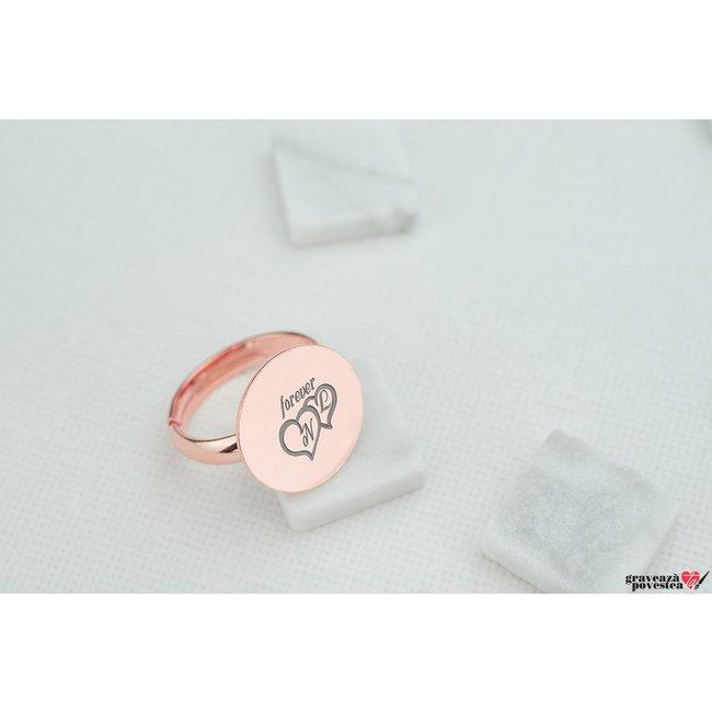Inel COIN 15mm TEXT placat cu aur roz