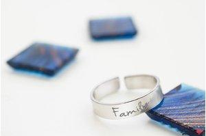 Inel UNISEX RING 5mm TEXT din argint masiv