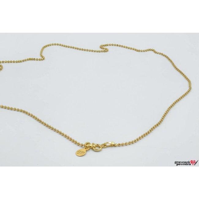 Lant SUPLIMENT unisex Beads (50 - 55- 60 cm) placat cu aur