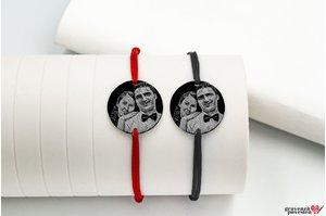 Bratari snur gros cuplu/ prietenie banut 22 mm personalizate gravura foto Argint 925 rodiat