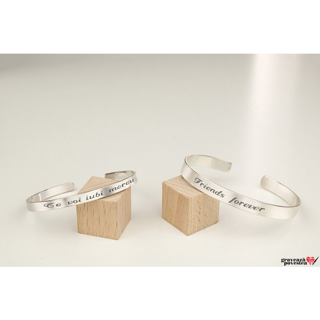 NOI DOI Set 2 bratari FOR HER/FOR HIM FIXE CUFF din argint masiv TEXT