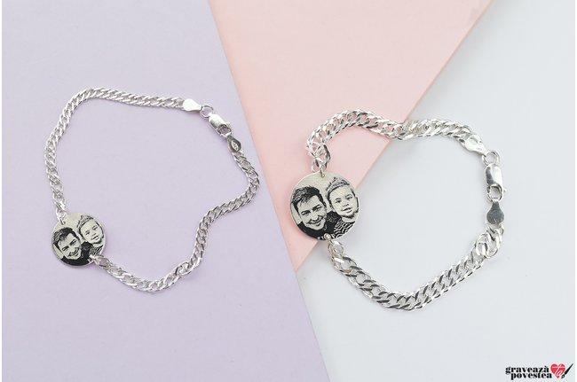 Bratari lant cuplu/ prietenie banut 22/ 17 mm personalizate gravura foto Argint 925 rodiat (lant curbed XL & curbed)