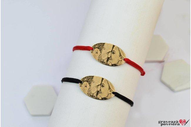 NOI DOI Set 2 bratari LARGE OVAL 25mm FOTO placate cu aur (snur gros)