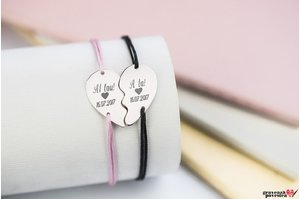 NOI DOI Set 2 bratari SPLIT HEART 21mm TEXT
