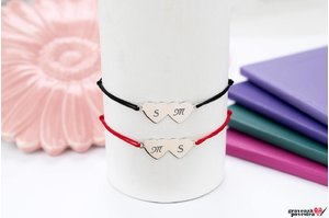 NOI DOI Set 2 bratari TWO HEARTS 20mm TEXT