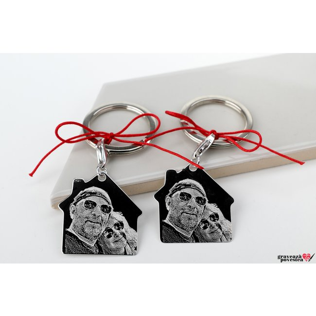 Brelocuri cupluri/ prietenie casa 30 mm personalizate gravura foto Argint 925 rodiat
